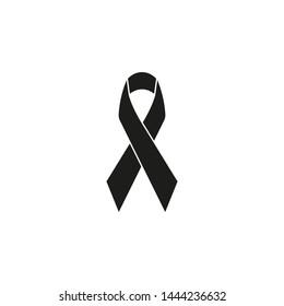 Black ribbon icon, mourning and melanoma sign. Vector.