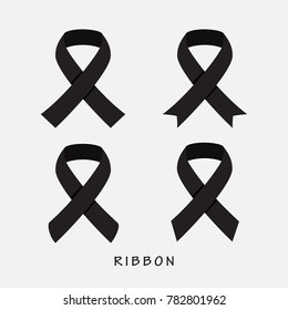 Black ribbon icon on gray background vector illustration. Breast cancer or HIV Aids awareness silhouette icon design concept.