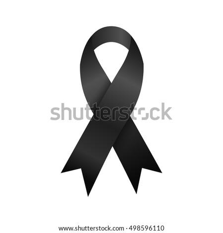 Black Ribbon Mourning Commemorate Symbol Stock Vector Royalty Free
