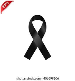 black ribbon, mourning sign, vector ribbon, isolated ribbon