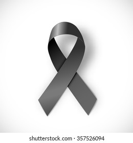 black ribbon  on white background, vector illustration, eps 10 with transparency