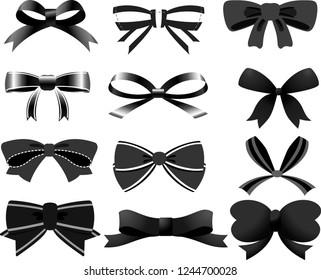 Black ribbon shaped like a butterfly