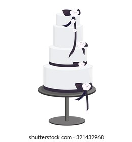 Black ribbon and white frosting tall cake