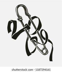 black ribbon wraps around pin forming love word