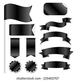 Black Ribbons Set isolated On White Background. Vector Illustration