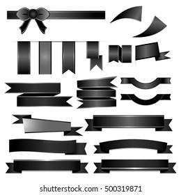 Black ribbons set isolated on white background