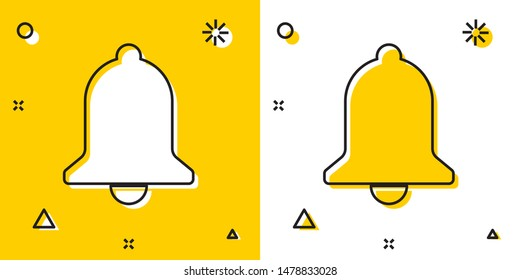 Black Ringing bell icon isolated on yellow and white background. Alarm symbol, service bell, handbell sign, notification symbol. Random dynamic shapes. Vector Illustration
