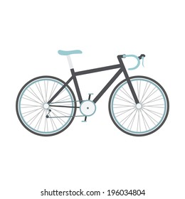 black road bike with blue seat isolated on white background, flat style