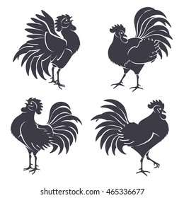 Black Rooster Silhouettes Isolated on White. Vector illustration. Symbols of 2017 Chinese New Year. Crowing Cock.