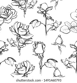 Black rose seamless tracery. Floral pattern with line art roses, buds, branches, foliage. Vector hand drawn repeatable background.