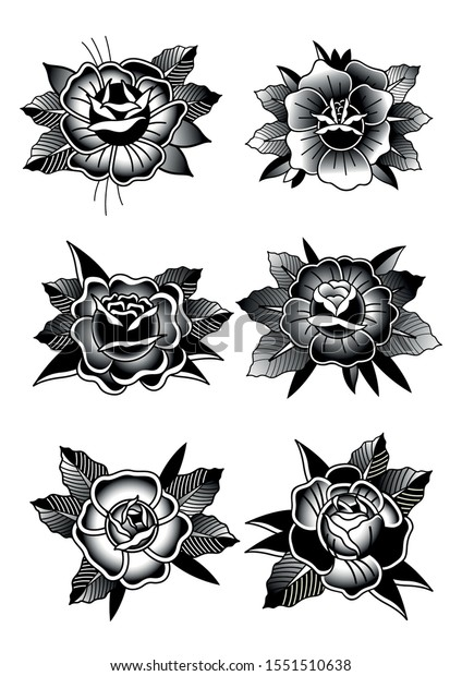 Black Rose Tattoo Designs Traditional Tattoo Stock Vector Royalty Free 1551510638