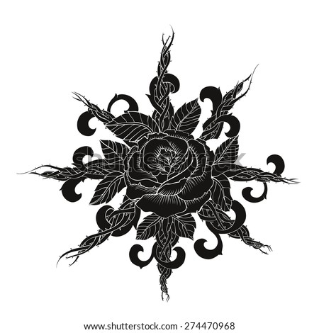 Black Rose Tattoo Vector Art Stock Vector Royalty Free 274470968