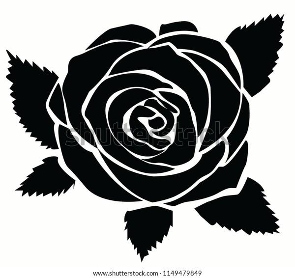 05382dda2 Black Rose Vector Illustration Rose Silhouettes Stock Vector ...