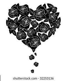 Black roses. Shape of heart