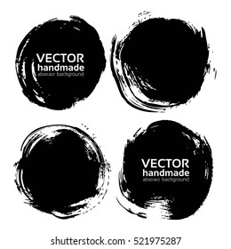 Black round abstract backgrounds smears vector objects isolated on a white background