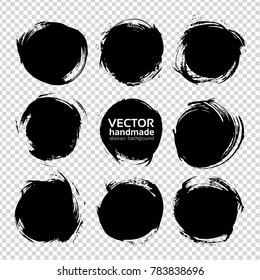 Black round abstract textured smears set isolated on imitation transparent background