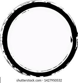 Black Round Brush stroke isolated on white