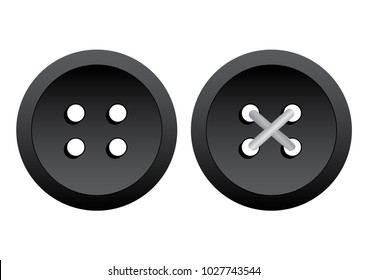 Black round clothing buttons with thread. Vector illustration