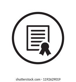 Black round document / warranty / achievement / diploma / award included concepts icon, black flat glyphs design vector, isolated on white background