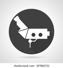 Black round flat design vector icon with white silhouette colposcopy equipment on gray background