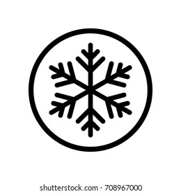 Black round frozen snowflake icon, freeze temperature flat design vector pictogram, infographic vector for app ads logotype web website button ui ux interface elements isolated on white background