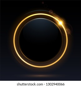 Black round with gold light ring