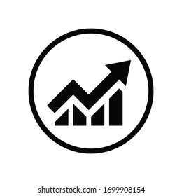 Black round growing up business on chart graph bars icon, simple trending arrow flat design infographic pictogram vector, app logo web button ui ux interface elements isolated on white background