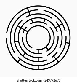 Black round maze on a white background