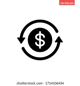 Black round money back refund investment icon, repeat arrow flat design vector pictogram, infographic interface elements for app logo web button ui ux isolated on white background