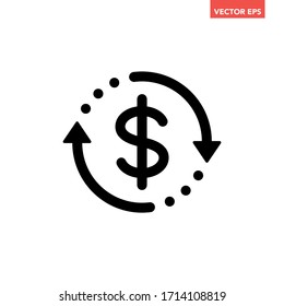 Black round money transfer icon, simple arrow financial usd dollar mark sale flat design vector pictogram, infographic interface elements for app logo web button ui ux isolated on white background