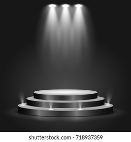 Black round podium on dark background. Empty pedestal for award ceremony. Platform illuminated by spotlights. Vector illustration.