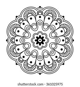 Black round simple indian mandala, abstract vector illustration