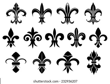 Black royal fleur de lis flowers set isolated on white background for heraldry or tattoo design