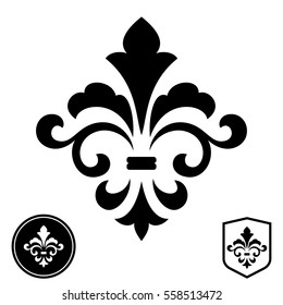 Black royal lily on a white background. Heraldic sign, logo, design element, decoration. Graphic vector pattern