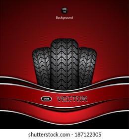 Black rubber tire on red background, vector illustration