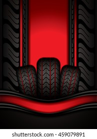 Black rubber tires on red background, vector illustration