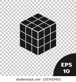 Black Rubik cube icon isolated on transparent background. Mechanical puzzle toy. Rubik's cube 3d combination puzzle.  Vector Illustration