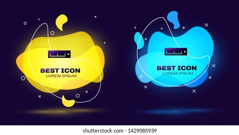 Black Ruler icon isolated on blue background. Straightedge symbol. Set of liquid color abstract geometric shapes. Vector Illustration