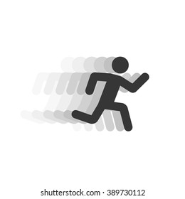 Black running man vector illustration with motion blur track,abstract running person silhouette symbol, modern simple running sprinter trail shape, flat icon design isolated on white sign