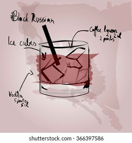 Black Russian Cocktail, Vector
