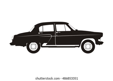 black russian retro car on the white background
