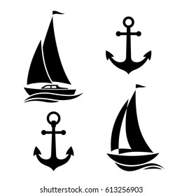 Black sailboat and anchor, isolated icons on white background
