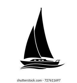Black sailboat vector icon on white background, isolated object