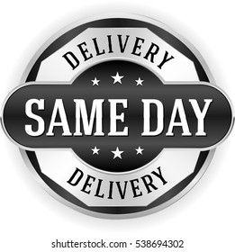 Black same day delivery button / badge with silver border
