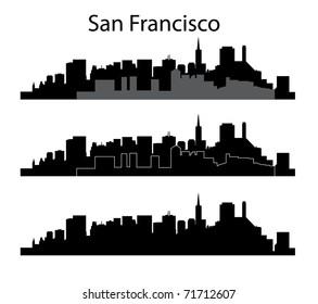 Black San Francisco silhouette on white background