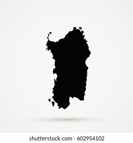Black Sardinia Map Illustration