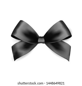 Black satin bow, Vector bow Isolated on white background