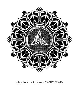 Black Scandinavian tattoo. Magic runic symbols. Dragon biting the tail against. Sacred sign of Vikings. Nordic style. Triskel. Fantastic monster. Celtic sacral symbol.Vector illustration.