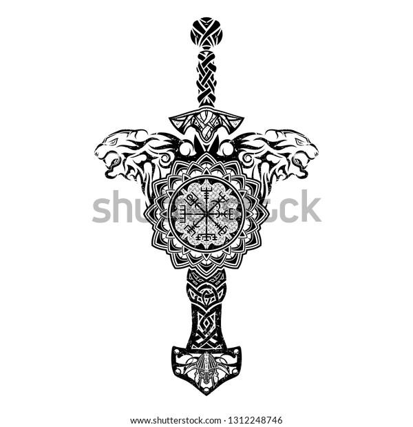 01ac04cee Black Scandinavian tribal tattoo. Magic runic compass. Horned helmet of the  Viking. Sword