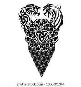 Black Scandinavian tribal tattoo. Vector image of fight of a tiger and dragon. Triskelion - sacred symbol of Vikings. Mythical animals of Celts. Circular geometrical ornament. Nordic grunge style.